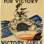 WWI Poster showing a woman rowing a boat, with legend Every Girl Pulling for Victory: United War Work Campaign